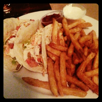 fish tacos and fries_