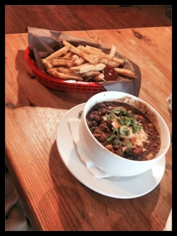 Featured above: a bowl of Chilli and a basket of fries.